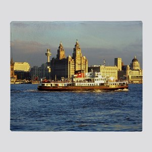 Mersey Ferry and Liverpool Waterfron Throw Blanket