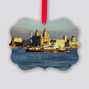 Mersey Ferry and Liverpool Waterf Picture Ornament