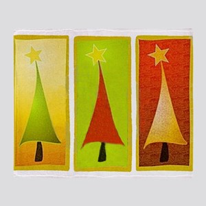 CONTEMPORARY CHRISTMAS TREES Throw Blanket