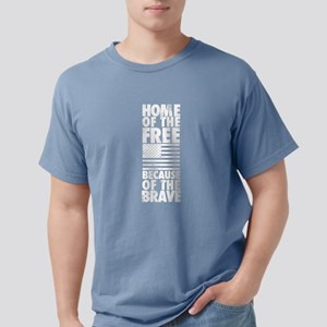 HOME OF THE FREE BECAUSE Mens Comfort Colors Shirt