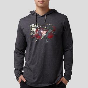 Fight Like a Girl Light Mens Hooded Shirt