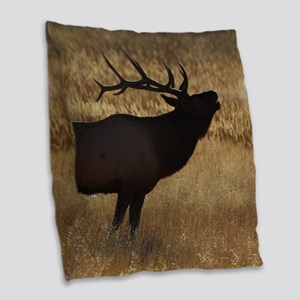 elk bugling Burlap Throw Pillow