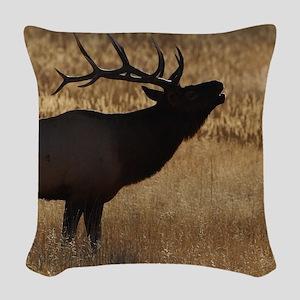elk bugling Woven Throw Pillow