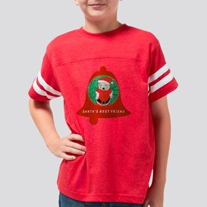 Christmas Funny Santa Puppy R Youth Football Shirt