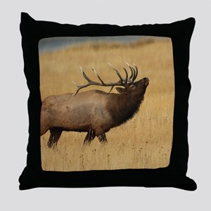 Bull Elk with Head Back Throw Pillow