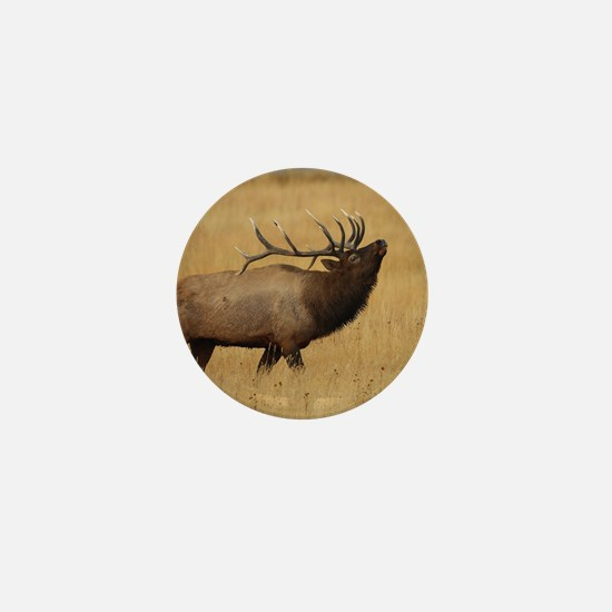 Bull Elk with Head Back Mini Button