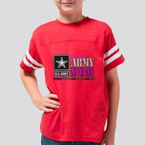 Proud Army Mom Pink Youth Football Shirt