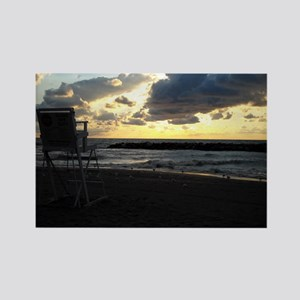 Lifeguard Chair against Lake Erie Sunset Magnets