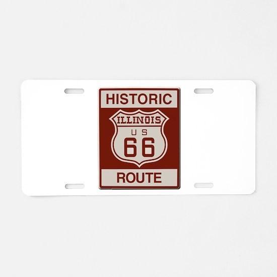 Illinois Route 66 Aluminum License Plate