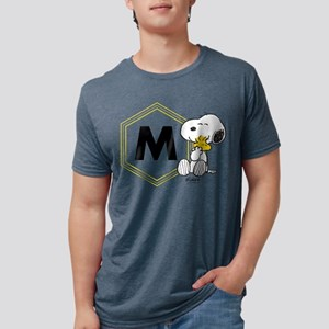 Snoopy Woodstock Monogramme Mens Tri-blend T-Shirt