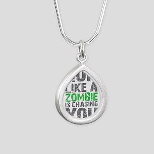 Run Like A Zombie Is Cha Silver Teardrop Necklace