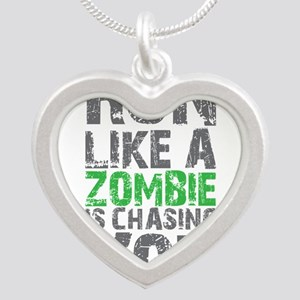 Run Like A Zombie Is Chasing Silver Heart Necklace