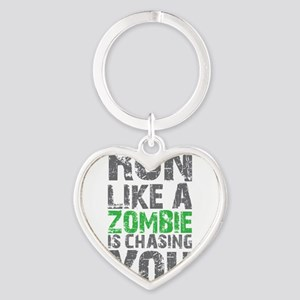 Run Like A Zombie Is Chasing You Heart Keychain