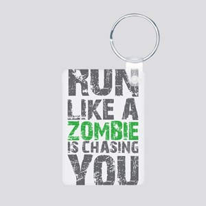 Run Like A Zombie Is Chasi Aluminum Photo Keychain