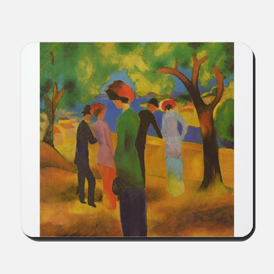 Macke - Woman in Green Jacket Mousepad