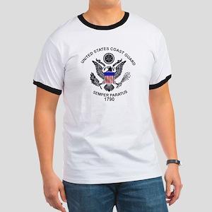 USCG Flag Emblem Ringer T
