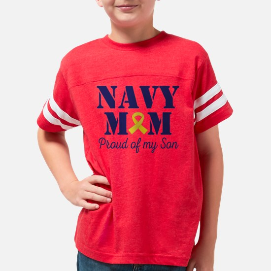 Navy Mom Proud Son Youth Football Shirt