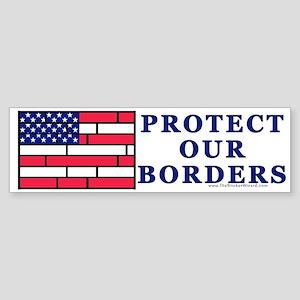 Brick Flag, Protect Our Borde Bumper Sticker
