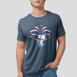 Snoopy Fireworks Mens Tri-blend T-Shirt