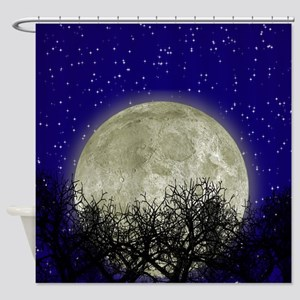 Moon Behind Trees and Starry Sky Shower Curtain