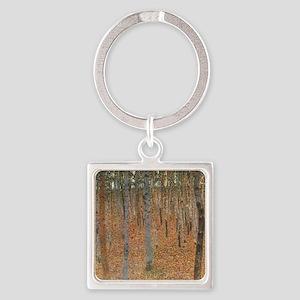 Klimt - Beech Forest Square Keychain