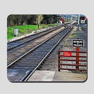 Beware of trains Mousepad