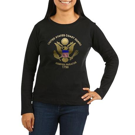 USCG Flag Emblem Women's Long Sleeve Dark T-Shirt