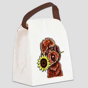 Sunny Chocolate Labrodoodle Canvas Lunch Bag