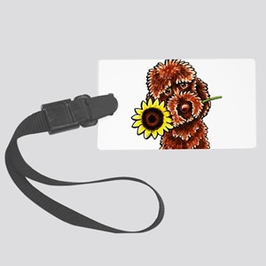 Sunny Chocolate Labrodoodle Luggage Tag