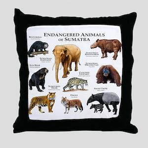 Endangered Animals of Sumatra Throw Pillow