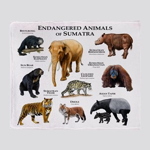 Endangered Animals of Sumatra Throw Blanket