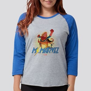 Ms. Marvel & Captain Marvel Fu Womens Baseball Tee