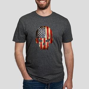 American Flag Skull Mens Tri-blend T-Shirt
