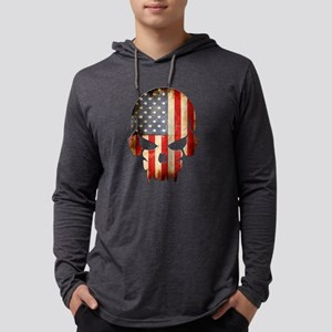 American Flag Skull Mens Hooded Shirt