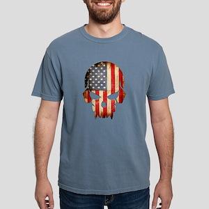 American Flag Skull Mens Comfort Colors Shirt