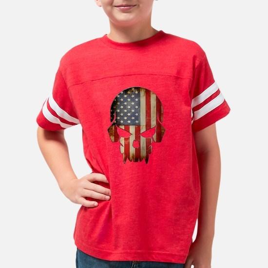American Flag Skull Youth Football Shirt