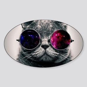Space cat Sticker (Oval)