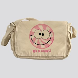 Pink Peppermint Smiley Messenger Bag