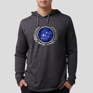 Star Trek UFP silver Mens Hooded Shirt