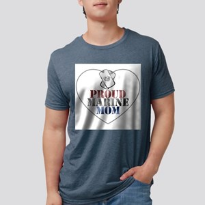 Proud Marine Mom - Red, Whi Mens Tri-blend T-Shirt