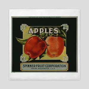 Vintage Fruit Vegetable Crate Label Queen Duvet