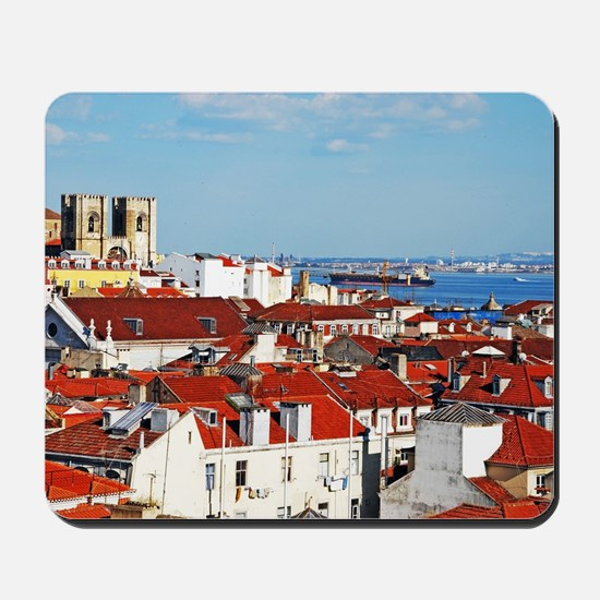 Lisbon cityscape with Se Cathedral Mousepad