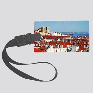 Lisbon cityscape with Se Cathedr Large Luggage Tag