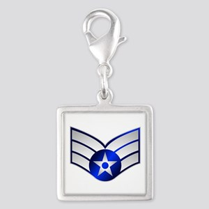 Air Force Senior Airman Silver Square Charm