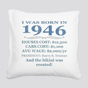 Birthday Facts-1946 Square Canvas Pillow