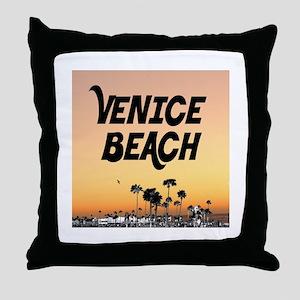 Venice Beach Boardwalk Sunset Throw Pillow