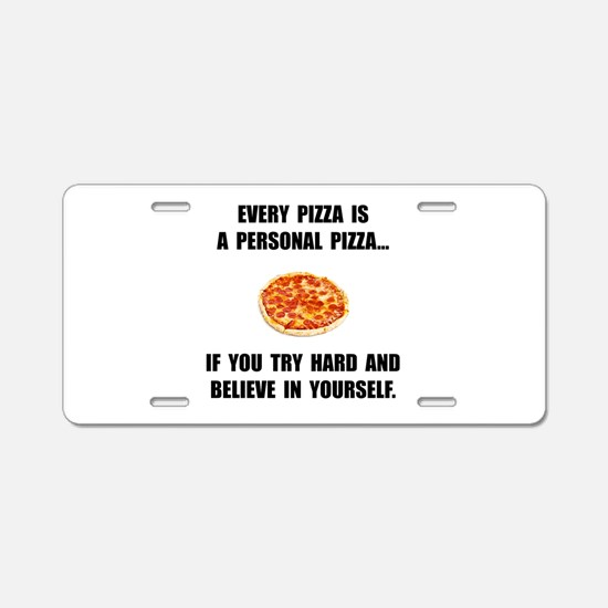 Personal Pizza Aluminum License Plate
