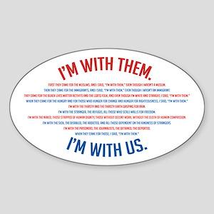 I'm With Us Sticker (oval)
