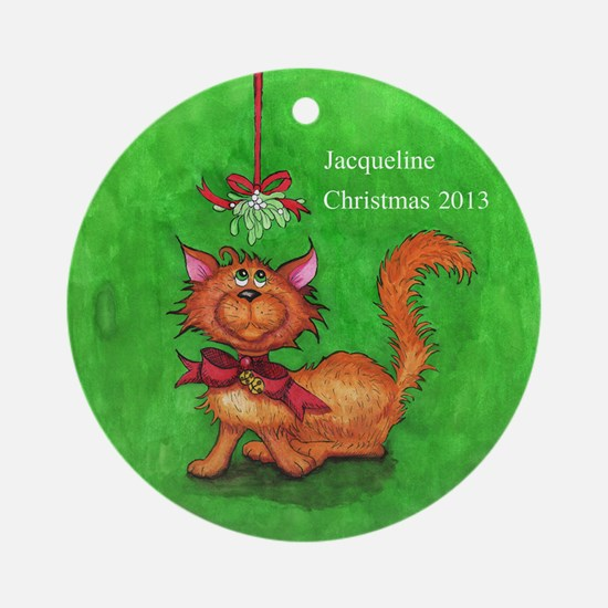Personalized Cat with Mistletoe Christmas Ornament
