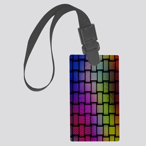 Lattice Fractal Rainbows Large Luggage Tag